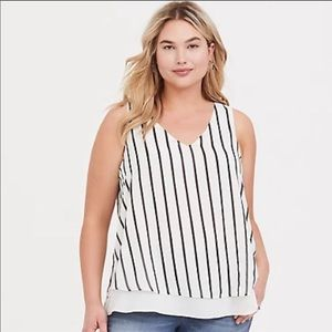 Torrid white black striped layer tank